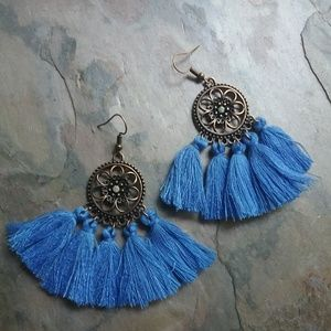 Jewelry - 🥀Blue Boho Tassel Dreamcatcher Style Earrings